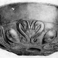 Серебряная чаша с лебедями из Казбегского клада. 6—5 вв. до н. э. Москва. Исторический музей