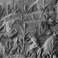 Стадо кабанов. Фрагмент рельефа в Так-и-Бустане. Конец 6 — начало 7 в. н. э.