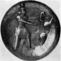 Сасанидское блюдо с изображением царя, убивающего леопарда. Серебро с позолотой. 4 в н. э. Ленинград. Эрмитаж