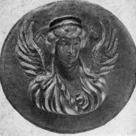 Богиня Хванинда. Бактрийский рельеф. Серебро с позолотой. Диаметр 12 см. Первая половина 2 в. до н. э. Ленинград. Эрмитаж
