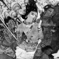 Летящий Индра. Фрагмент росписи пещерного храма № 17 в Аджанте. Конец 5 в. н. э.