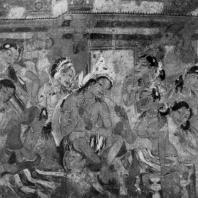 Дворцовая сцена. Фрагмент росписи пещерного храма № 1 в Аджанте. 6 в. н. э.