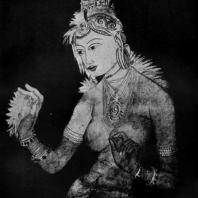 Апсара (небесная дева). Фрагмент наскальной росписи в Сигирийе на острове Цейлоне. 5 в. н. э.