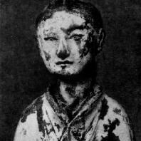 Терракотовая статуэтка девушки. Фрагмент. Период Хань. 3 в. до н. э. — 3 в. н. э.