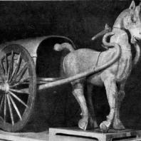 Конь с повозкой. Терракота. Период Хань. 3 в. до н. э. — 3 в. н. э. Пекин. Исторический музей